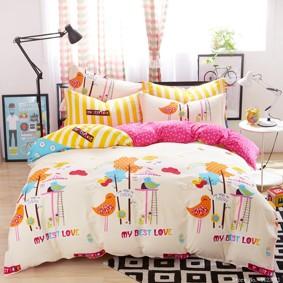 Комплект постельного белья Птичья любовь (двуспальный-евро) (код товара: 47273): купить в Berni