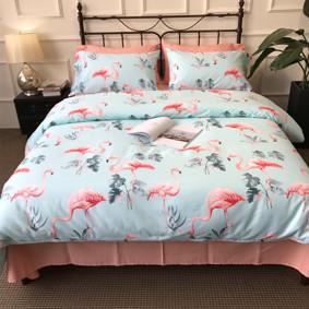 Комплект постельного белья Розовые фламинго (двуспальный-евро) (код товара: 47271): купить в Berni