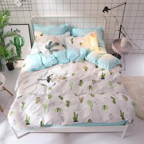 Уценка (дефекты)! Комплект постельного белья Кактусы (двуспальный-евро) (код товара: 47470): купить в Berni