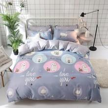 Комплект постельного белья Белый мишка и пингвин (полуторный) (код товара: 47531)