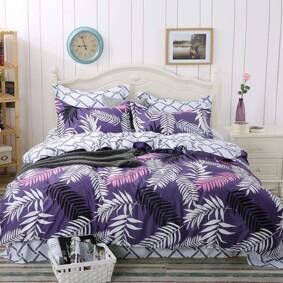 Комплект постельного белья Листья с простынью на резинке (полуторный) (код товара: 47564): купить в Berni