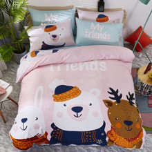 Комплект постельного белья Лесные друзья (двуспальный-евро) (код товара: 47674)