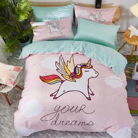 Комплект постельного белья Летящий единорог (двуспальный-евро) (код товара: 47666): купить в Berni