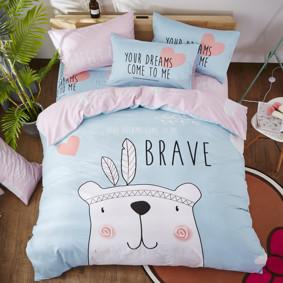 Комплект постельного белья Медведь - индеец (двуспальный-евро) (код товара: 47682): купить в Berni