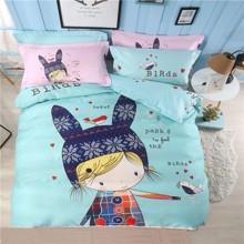 Комплект постельного белья Девочка - зайка (полуторный) (код товара: 47733)
