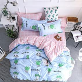 Уценка (дефекты)! Комплект постельного белья Суккулент (двуспальный-евро) (код товара: 47709): купить в Berni