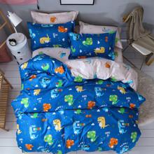 Уценка (дефекты)! Комплект постельного белья Веселые динозавры (двуспальный-евро)  (код товара: 47707)