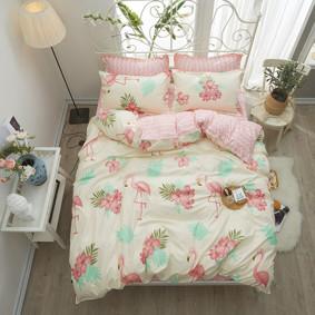 Комплект постельного белья Фламинго и цветы (двуспальный-евро) (код товара: 47917): купить в Berni