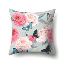 Подушка декоративная Бабочки и розы 45 х 45 см (код товара: 48024)