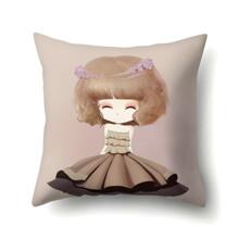 Подушка декоративная Девочка и фиалки 45 х 45 см (код товара: 48045)