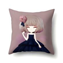 Подушка декоративная Девочка и георгина 45 х 45 см (код товара: 48042)
