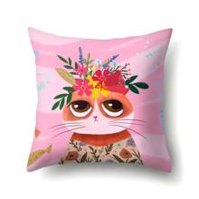 Подушка декоративная Кошка с цветами 45 х 45 см (код товара: 48057)