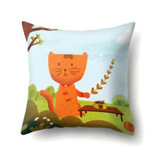 Подушка декоративная Кот на пикнике 45 х 45 см (код товара: 48053)