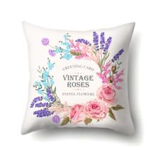 Подушка декоративная Пастельные цветы 45 х 45 см оптом (код товара: 48058)