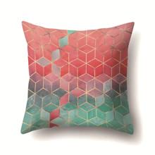 Подушка декоративная Зелено - красные кубы 45 х 45 см (код товара: 48011)