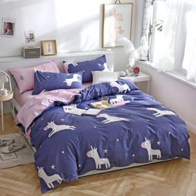 Комплект постельного белья Единорог (двуспальный-евро) (код товара: 48101): купить в Berni
