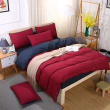 Уценка (дефекты)! Комплект постельного белья Красно - синий (двуспальный-евро) (код товара: 48195)