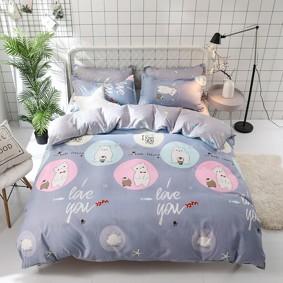 Уценка (дефекты)! Комплект постельного белья Белый мишка и пингвин (двуспальный-евро) (код товара: 48219): купить в Berni