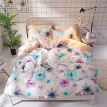 Уценка (дефекты)! Комплект постельного белья Цветы (двуспальный-евро) (код товара: 48226)