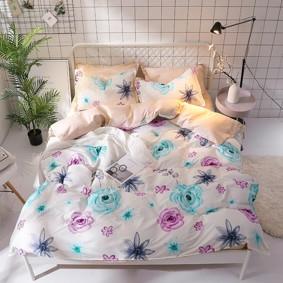 Уценка (дефекты)! Комплект постельного белья Цветы (двуспальный-евро) (код товара: 48226): купить в Berni