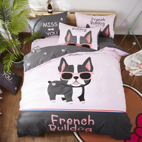 Уценка (дефекты)! Комплект постельного белья Французский бульдог (двуспальный-евро) (код товара: 48231): купить в Berni