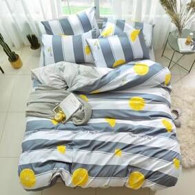 Уценка (дефекты)! Комплект постельного белья Лимон с простынью на резинке (полуторный) (код товара: 48234): купить в Berni