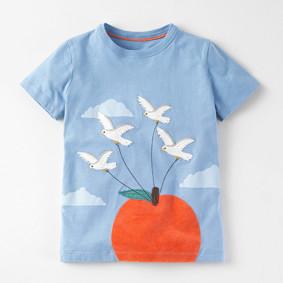 Футболка для девочки Птицы и яблоко (код товара: 48308): купить в Berni