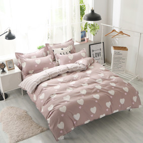 Комплект постельного белья Белое сердце с простынью на резинке (полуторный) (код товара: 48490): купить в Berni