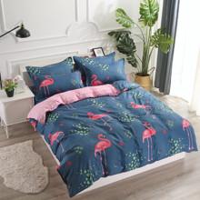 Комплект постельного белья Розовый фламинго с простынью на резинке (двуспальный-евро) (код товара: 48498)
