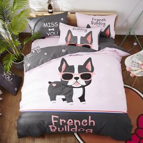 Уценка (дефекты)! Комплект постельного белья Французский бульдог (полуторный) (код товара: 48436): купить в Berni