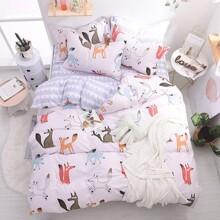 Уценка (дефекты)! Комплект постельного белья Лисье семейство (двуспальный-евро) (код товара: 48437)