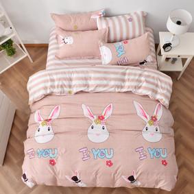 Уценка (дефекты)! Комплект постельного белья Любящий кролик (двуспальный-евро) (код товара: 48447): купить в Berni