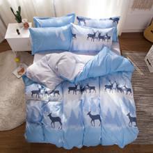 Уценка (дефекты)! Комплект постельного белья Олени (двуспальный-евро) (код товара: 48407)