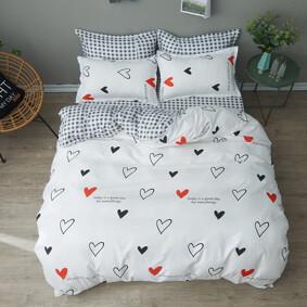Уценка (дефекты)! Комплект постельного белья Сердечки (двуспальный-евро) (код товара: 48427): купить в Berni