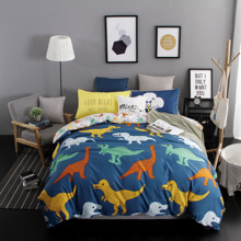 Комплект постельного белья Динозавры с простынью на резинке (полуторный) (код товара: 48554)