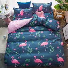 Комплект постельного белья Розовый фламинго с простынью на резинке (полуторный) (код товара: 48545)