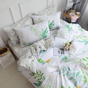 Уценка (дефекты)! Комплект постельного белья Цветущие растения (полуторный) (код товара: 48689): купить в Berni