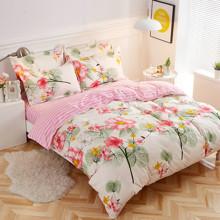 Уценка (дефекты)! Комплект постельного белья Цветы (двуспальный-евро) (код товара: 48697)