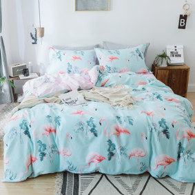 Комплект постельного белья Розовые фламинго (двуспальный-евро) (код товара: 48760): купить в Berni