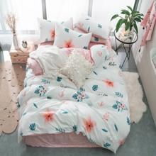 Уценка (дефекты)! Комплект постельного белья Тропический цветок (двуспальный-евро) (код товара: 48701)