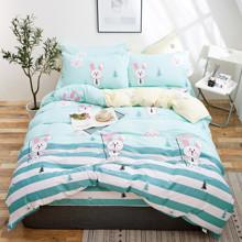 Комплект постельного белья Белый зайчик (двуспальный-евро) (код товара: 48865)