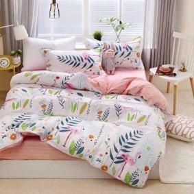 Комплект постельного белья Фламинго в тропиках (двуспальный-евро) (код товара: 48809): купить в Berni