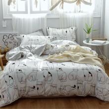 Комплект постельного белья Котики (полуторный) (код товара: 48856)