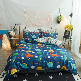 Комплект постельного белья Веселые динозавры с простынью на резинке (двуспальный-евро) (код товара: 48842): купить в Berni
