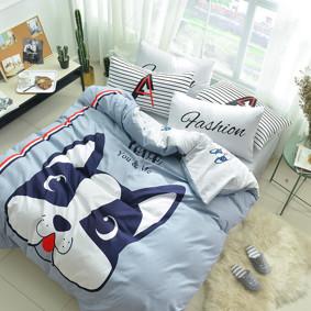 Комплект постельного белья Веселый бульдог (двуспальный-евро) (код товара: 48848): купить в Berni