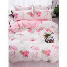 Уценка (дефекты)! Комплект постельного белья Большой фламинго (двуспальный-евро) (код товара: 48892)