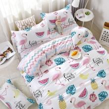 Уценка (дефекты)! Комплект постельного белья Фламинго и фрукты (двуспальный-евро) (код товара: 48898)
