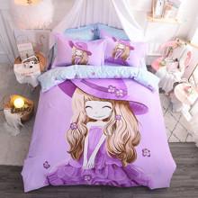 Комплект постельного белья Девочка и фиалка (двуспальный-евро) (код товара: 48982)