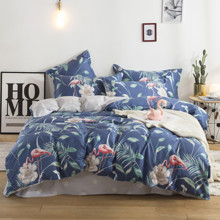 Комплект постельного белья Фламинго и белый цветок (полуторный) (код товара: 48983)