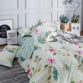 Комплект постельного белья Нежные цветы (двуспальный-евро) (код товара: 48901): купить в Berni